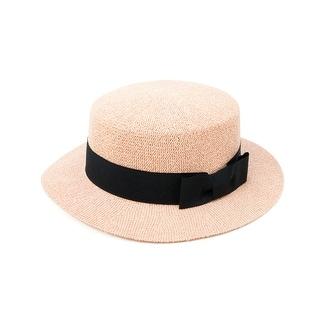 ChicHeadwear Womens Knit Boater Hat w/ Drawstring Headband