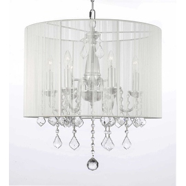 Crystal Swag Plug In Chandelier Lighting With Shade With 14' Feet Of Hanging Chain & Wire