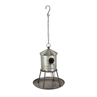 Galvanized Metal Hanging Birdhouse Distressed Silo Rustic Water Tower Feeder - 12.5 X 10 X 10 inches