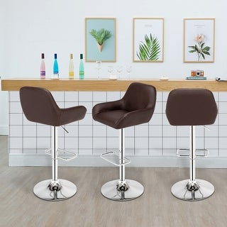 Modern PU Leather Dustpan Chair Square Foot Bar Stool Set of 2