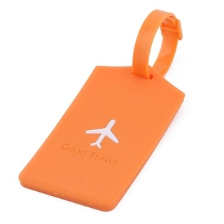 Silicone Rectangle Travel Bag Label Luggage Tag Name Address Card Holder Orange