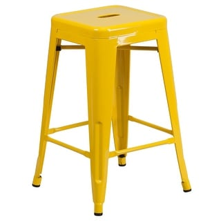 """24"""" High Backless Metal Indoor-Outdoor Counter Height Stool w/Square Seat"""
