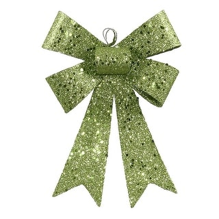 "7"" Lime Green Sequin and Glitter Bow Christmas Ornament"