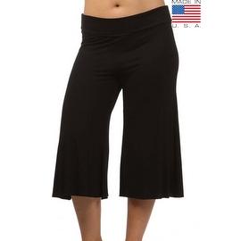 Plus Size Women's Black Gaucho Pants 3/4 Long Palazzo Pants Loose Fit Waist Band 1XL 2XL 3XL