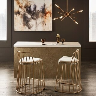 Summerlin Gold Finish Beige Fabric Counter or Bar Height Chairs by iNSPIRE Q Bold