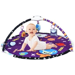 Costway Baby Gym Play Mat w/ Hanging Toys Music & LED light Infant - Purple