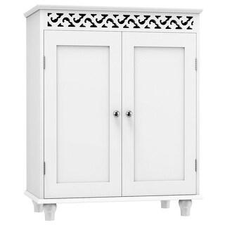 Gymax White Wooden 2 Door Bathroom Cabinet Storage Cupboard 2 Shelves