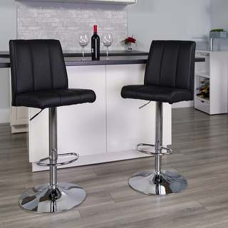 2PK Vinyl Adjustable Height Barstool with Panel Back and Chrome Base