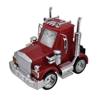 North American Big Rig Red Semi Truck Alarm Clock w/Lights & Sound - 9 X 10.5 X 7 inches