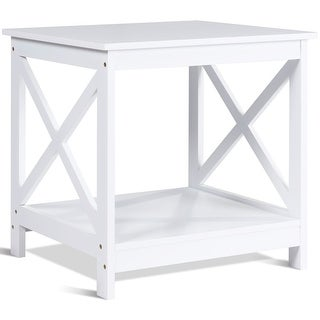 Gymax White Nightstand End Table Beside Coffee Table Home Furniture