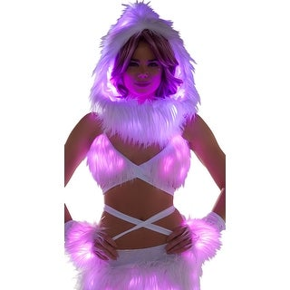 Furry Light-up Wrap Top, White Light-up Wrap Top - One Size Fits Most
