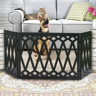 3-Panel Diamond Design Wood Pet Gate - Decorative Black Tri Fold Dog Fence Pet Barrier - 24-48 Inches Wide x 19 Inches Tall