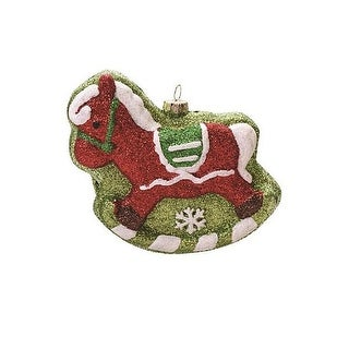 """4.75"""" Green and Red Glitter Shatterproof Rocking Horse Christmas Ornament"""