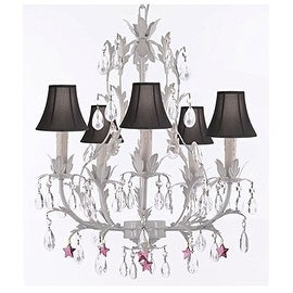 White Wrought Iron Floral Chandelier Ligthing With Purple Stars and Shades!