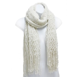 Winter Knit Fish Net Weave Oblong Scarf with Fringe