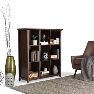 WYNDENHALL Normandy SOLID WOOD 48 inch x 44 inch Rustic 9 Cube Bookcase and Storage Unit - 44 Inches wide