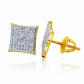 1/3cttw Diamond 10K yellow Gold Kite Earrings Extra Large 10mm Wide Screw Back Mens