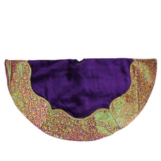 "48"" Purple Velveteen Christmas Tree Skirt with Gold Flourish Two Tone Border"