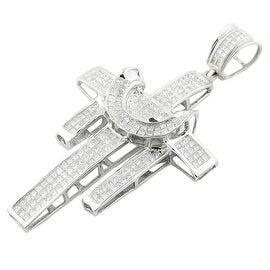 14K White Gold Princess Cut Diamond Cross Charm Mens 4cttw 76mm Tall(i1/i2, h/i)