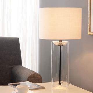 Strick & Bolton Locke Clear Glass Cylinder Table Lamp