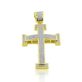 10K Gold Cross Pendant Mens 0.45cttw Pave Set Diamonds 48mm Tall