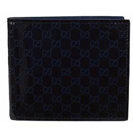 New Gucci 365466 Black Blue Patent Leather Micro GG Guccissima Bifold Wallet