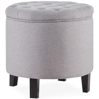 Belleze Nailhead Round Tufted Storage Ottoman Footrest Stool, Gray