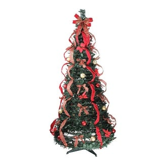 6' Pre-Lit Gold and Red Plaid Pop-Up Artificial Christmas Tree - Multicolor Lights - 6 Foot