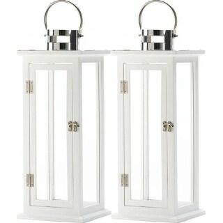 Set of 2 White Wooden Large Candle Lanterns
