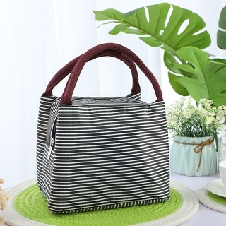 Lunch Bag Box Travel Oxford Fabric Stripe Pattern Rectangle Lunch Tote Insulated Bag Dinner Warmer Cooler Pouch Bag