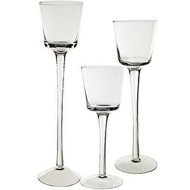 "CYS® Stemmed Candle Holder Set of 3 pcs (H-8"", 10"", 12"") Open D-3"", Cup H-2.75"""
