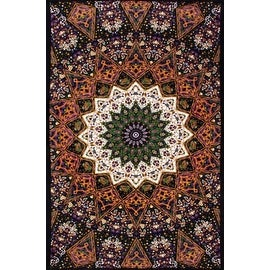 Handmade 100-percent Cotton Indian Star Mandala Tapestry Tablecloth in Twin 60x90 and Full 85x100 Purple Dorm Decor Beach Sheet