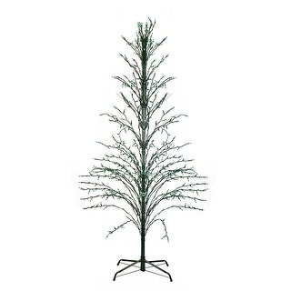4' Pre-Lit Green Cascade Twig Tree Christmas Outdoor Decor - Green Lights