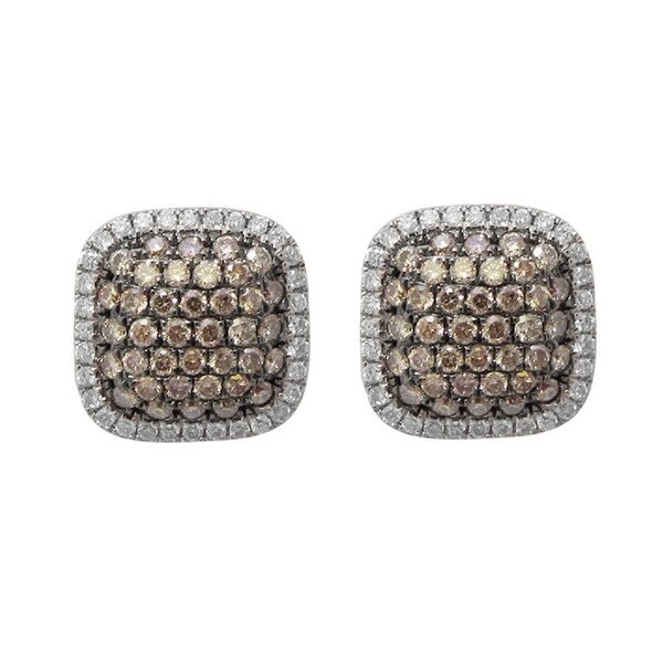 0.70 Carat Round Brilliant Cut Brown & White Diamond Cluster Stule Stud Earring With Push Back, 10k Rose Gold