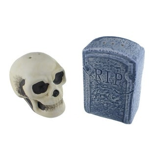 Graveyard Skull and Tombstone Salt and Pepper Shakers - Multi