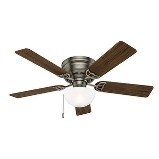 """Hunter 52"""" Low Profile Ceiling Fan with Light Kit, Pull Chain"""