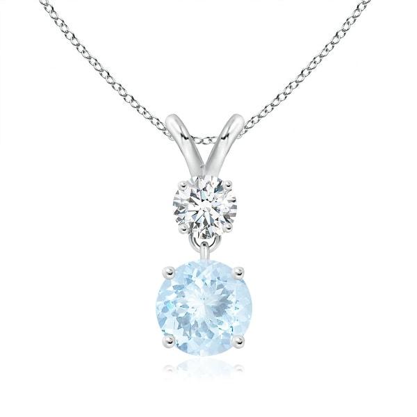 Two Stone Round Diamond and Aquamarine Pendant Necklace in 14K White Gold(6mm Aquamarine)