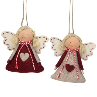 """Set of 2 Gray and Red Girl Angel Christmas Ornaments 3.5"""""""
