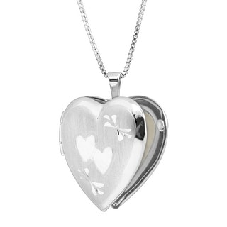 Classic Medium Double Etched Heart Locket Pendant in Sterling Silver - White