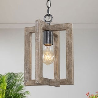 "Farmhouse 1-light Hanging Pendant Lighting Fixture Antique Wood Ceiling Lamp - L 8"" x W 8 ""x H 10.5"""