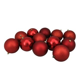 "12ct Red Shatterproof 4-Finish Christmas Ball Ornaments 4"" (100mm)"