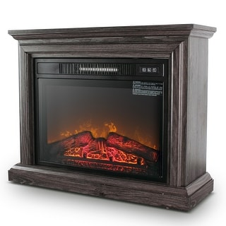 BELLEZE 1400W Electric Fireplace Insert Freestanding Glass, Gray - standard