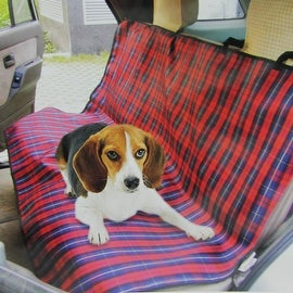 """55"""" Red Plaid Rugged Canvas Water Resistant Pet Car Seat Protective Cover"""