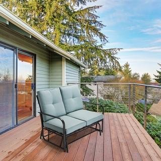 Glitzhome Outdoor Mid Century Modern Patio Loveseat Glider Chair
