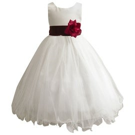 Wedding Easter Flower Girl Dress Wallao Ivory Rattail Satin Tulle (Baby - 14) Wine Burgundy