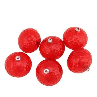 "6ct Red Shatterproof Transparent Christmas Disco Ball Ornaments 2.5"" (60mm)"