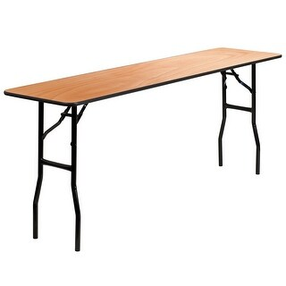 6-Foot Rectangular Wood Folding Training / Seminar Table with Clear Coated Top