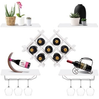 Gymax Set of 5 Wall Mount Wine Rack Set Storage Shelves and Glass