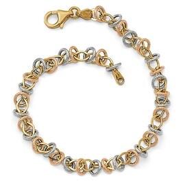 Italian 14k Tri-Color Gold Polished & Textured Fancy Link Bracelet - 7.5 inches