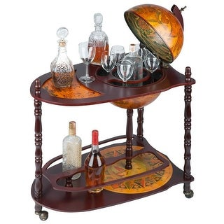 Design Toscano Old World Extended Shelf Italian Replica Globe Bar Cart - 27.5 x 18 x 34.5